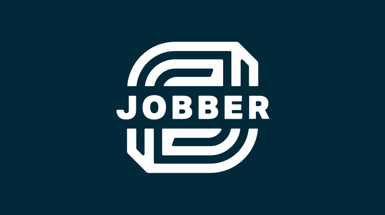 A white Jobber logo on a navy background