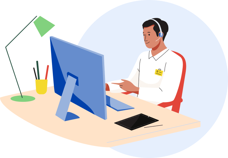 Illustration depicting Be My Eyes support agent sitting behind a computer desk, wearing a headset and answering a call.