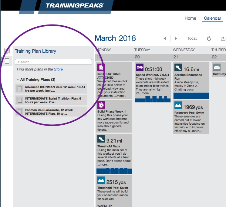 click on the Training Plan Library icon