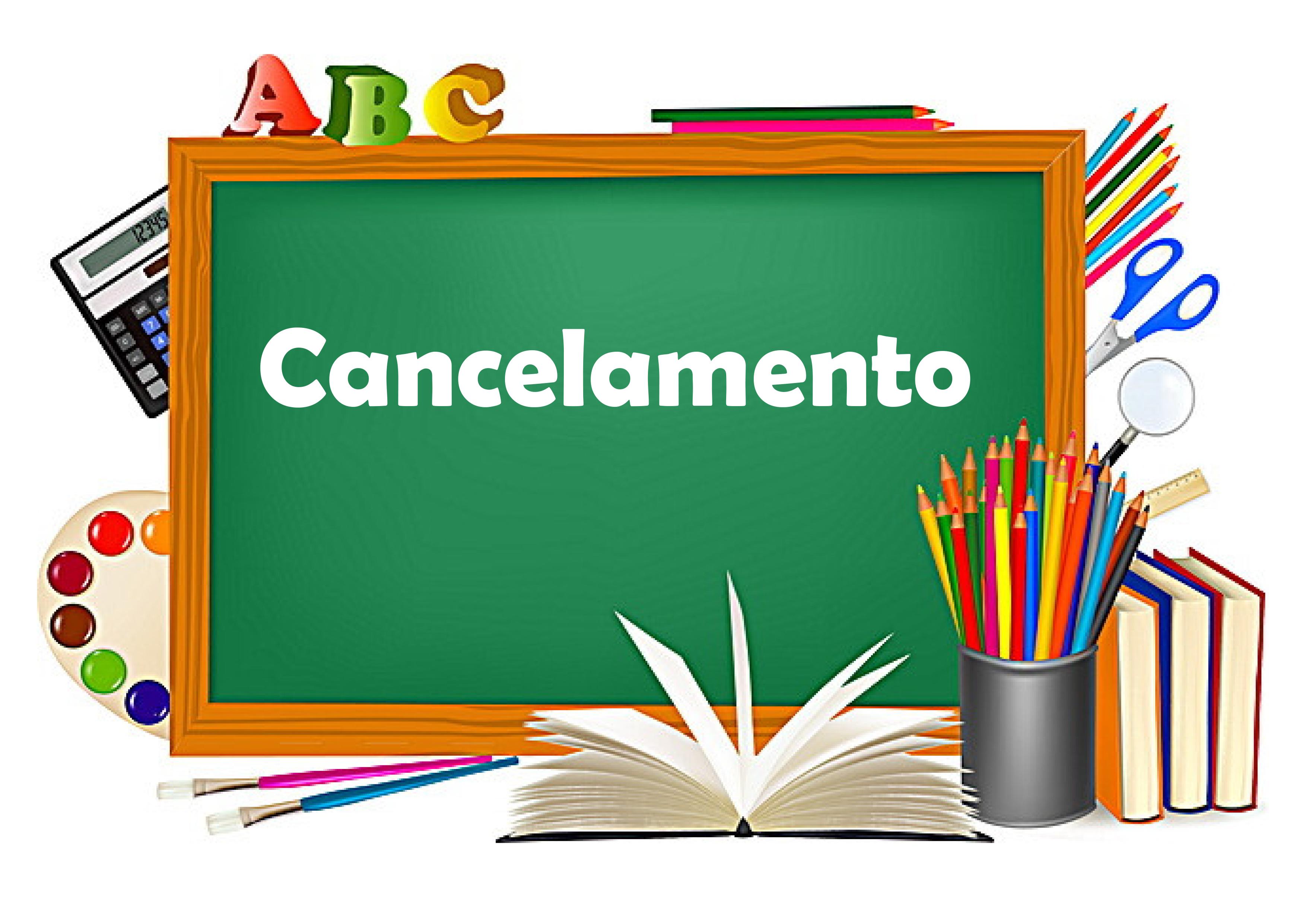 Imagem de lousa com palavra Cancelamento escrita, possui link para página de cancelamento
