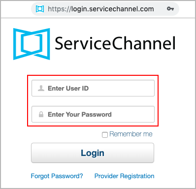 Login to ServiceChannel